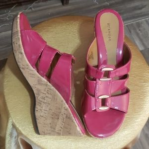 Pink size 8 buckle platforms